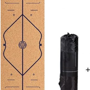 Bodhi Yoga mat van kurk en zwart rubber - Extra dik en breed - met opdruk