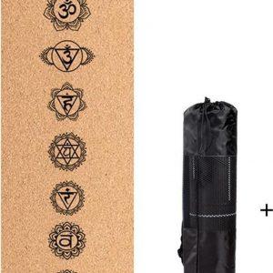 Bodhi Yogamat met chakras opdruk - kurk en zwart rubber - Extra dik en breed