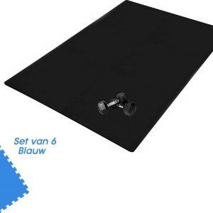 Buxibo Yogamat 60x60x1CM - Set van 6 - Anti Slip - Isoleert Geluid & Waterdicht - Fitness/Yoga/Sport/Vloer/Zwembad Foam Mat - Voor Kind en Volwassenen - Blauw