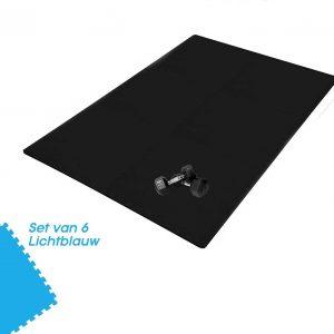Buxibo Yogamat 60x60x1CM - Set van 6 - Anti Slip - Isoleert Geluid & Waterdicht - Fitness/Yoga/Sport/Vloer/Zwembad Foam Mat - Voor Kind en Volwassenen - Licht Blauw