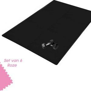 Buxibo Yogamat 60x60x1CM - Set van 6 - Anti Slip - Isoleert Geluid & Waterdicht - Fitness/Yoga/Sport/Vloer/Zwembad Foam Mat - Voor Kind en Volwassenen - Roze
