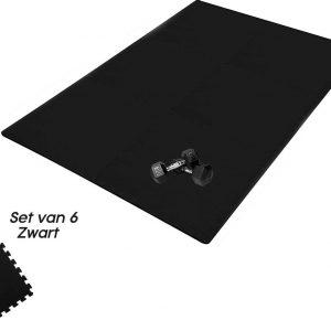 Buxibo Yogamat 60x60x1CM - Set van 6 - Anti Slip - Isoleert Geluid & Waterdicht - Fitness/Yoga/Sport/Vloer/Zwembad Foam Mat - Voor Kind en Volwassenen - Zwart