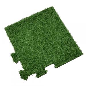 Rubber Tegel met Kunstgras Toplaag - Hoekstuk - Puzzelsysteem - 50 x 50 x 2