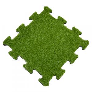 Rubber Tegel met Kunstgras Toplaag - Middenstuk - Puzzelsysteem - 50 x 50 x 2