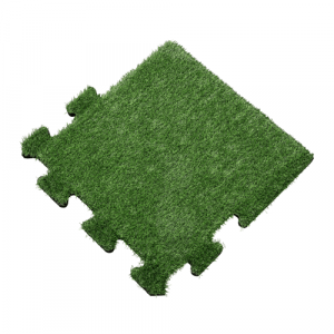 Rubber Tegel met Kunstgras Toplaag - Zijstuk - Puzzelsysteem - 50 x 50 x 2