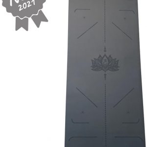 YoZenga yogamat rubber Lotus Black | extra breed | inclusief gratis draagriem!