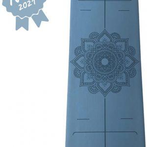 YoZenga yogamat rubber Mandala Flower Blue | extra breed | inclusief gratis draagriem!