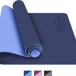 ARMENTI® Premium Yoga mat - Anti slip (extra dik) - Eco friendly Zero waste Duurzaam - TPE - Fitness mat - Sport mat - Blauw - Met opbergkoord - Valentijn cadeautje vrouw en hem