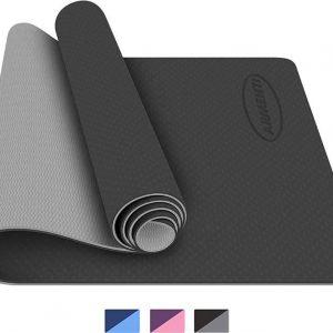 ARMENTI® Premium Yoga mat - Anti slip (extra dik) - Eco friendly Zero waste Duurzaam - TPE - Fitness mat - Sport mat - Zwart - Met opbergkoord - Valentijn cadeautje vrouw en hem