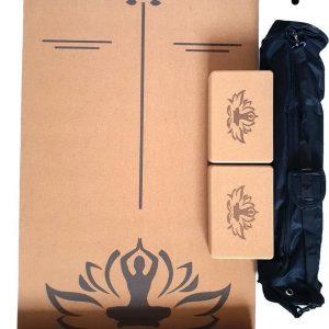 Kurk Yoga mat - 180 x 61 x 0.5 cm - Kurk - Ecologisch, Duurzaam, Milieuvriendelijk - Anti-slip mat - (Incl. 2x Yogablok kurk 22 x 15 x 7.5 Cm en Meeneem tas)
