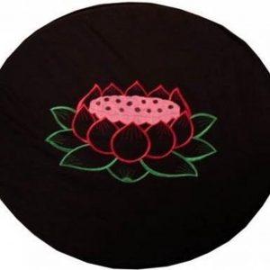 Meditatiemat hoes zwart met lotus rond - 80 cm - L