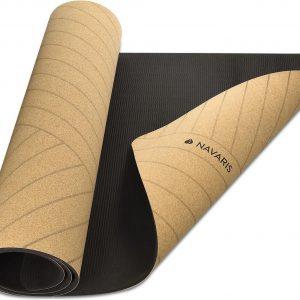 Nava © - Kurk yogamat - Antislip natuurlijke milieuvriendelijke fitnessmat met schouderband - Perfect voor pilates, hete yoga, buitensporten
