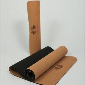 Om Namaste Cork-Kurk-TPE yogamat - zwarte mat voor yoga en fitness