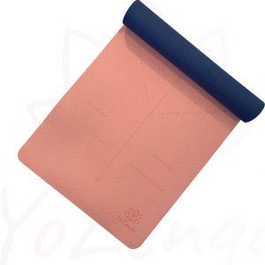 YoZenga yogamat Ohm Salmon pink/Navy blue   extra breed  inclusief gratis draagriem