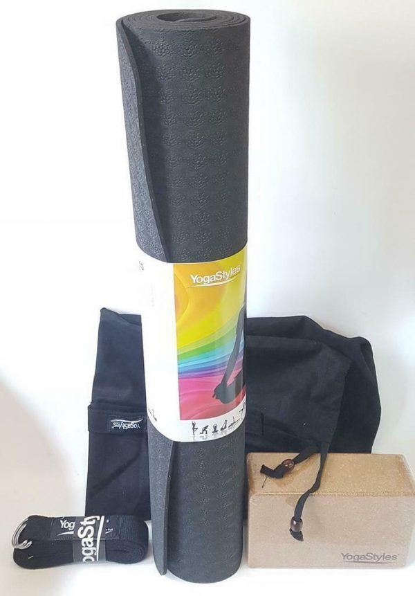 Yoga Starterspakket XL zwart - beginnersset : zwarte XL TPE yogamat + yogablok + yogariem + grote yogamattas