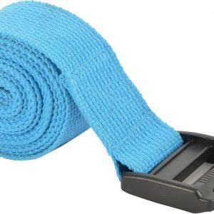 Yoga riem Mambo Max - Blauw | Pilates | 180 x 3,8 cm | Katoen