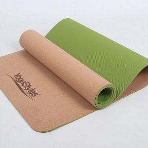 YogaStyles-Cork-Kurk-TPE yogamat-Groen - mat voor yoga en fitness