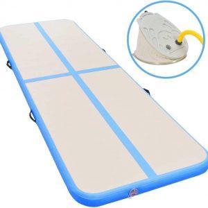 Yogamat met Sporthanddoek - met Pomp Opblaasbaar - Blauw - 700x100x10 cm