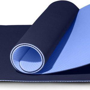 LifeGoods Yoga Mat - Draagriem - Anti Slip - Extra Dik (6 mm) - 61 x 183 x 0,6 cm - Blauw
