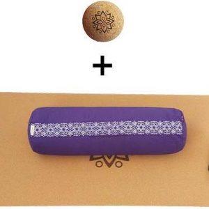 Yin Yoga set - Sun (PURPER)| Kurk yogamat| Yoga Bolster| Kurk massagebal| Draagiem| Ethisch geproduceerd uit natuurlijke materialen