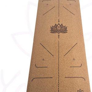 YoZenga Premium yogamat natuurlijk kurk Lotus Flower   Inclusief gratis draagriem