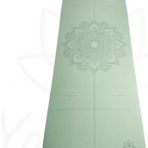 YoZenga Premium yogamat   sportmat   Fitnessmat   extra breed   extra dik   TPE   Mandala flower Mint/black   inclusief gratis draagriem