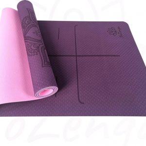 YoZenga Premium yogamat   sportmat   Fitnessmat   extra dik  Mandala Flower Purple/pink   TPE   inclusief gratis draagriem