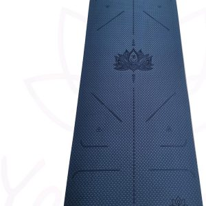 YoZenga Premium yogamat   sportmat   fitnessmat   extra dik  TPE   Lotus Night blue/light blue   inclusief gratis draagriem