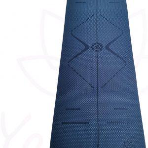 YoZenga Premium yogamat   sportmat   fitnessmat   extra dik  TPE   Ohm Night blue/light blue   inclusief gratis draagriem