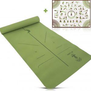 By Lara TPE Yoga Mat - Milieuvriendelijke Yoga Mat - Eco Yoga Mat - Yoga mat met Anti Slip - Fitness Mat - Groen - Inclusief Yoga Poster