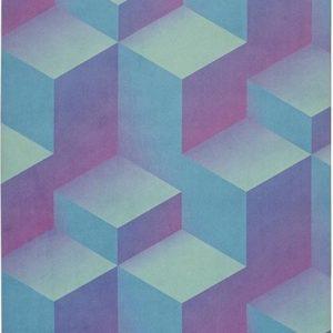 yogigo flow reis yoga mat van rubber en microfiber blue cubes | Eco-Vriendelijk |178cm x 61cm x 1.5mm