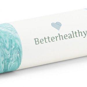 Betterhealthy - De eerste echt duurzame yogamat, gemaakt met zeewier. Perfecte ondersteuning, weegt slechts 616 gram, iedere eco yogamat heeft een unieke print en OEKO-TEX 100 keurmerk en draagt bij aan een beter milieu. Yoga met een goed gevoel.