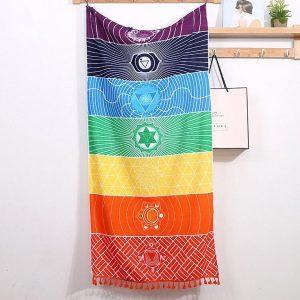 DW4Trading® Yoga meditatie doek 7 chakra's 150x70 cm regenboog kleur