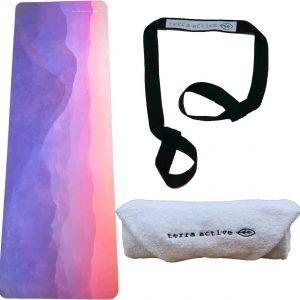 Eco Yogabundel - Zonsopgang - Eco Yogamat + Biologisch Katoenen Handdoek + Yogariem - Diverse Kleuren