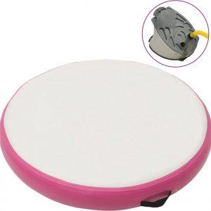 Gymnastiekmat met pomp opblaasbaar 100x100x10 cm PVC roze