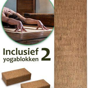 Sawa Sawa® Yoga en Fitness Mat Kurk 180cm - Inclusief 2 Yoga Blokken - Anti Slip - Sport Matje - Eco Friendly - 100% Natuurlijk