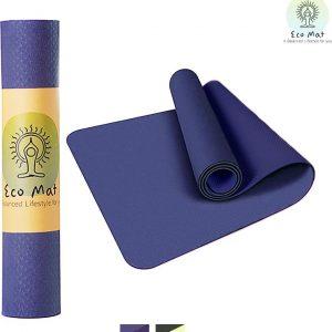 Eco Yoga Mat - Inclusief Draagriem - Fitness Mat Anti Slip - Extra Dik (6 mm) - 183 x 61 x 0,6 cm - Donker Blauw - Diverse kleuren - Hoge korting