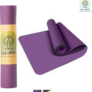 Eco Yoga Mat - Inclusief Draagriem - Fitness Mat Anti Slip - Extra Dik (6 mm) - 183 x 61 x 0,6 cm - Paars - Diverse kleuren - Hoge korting