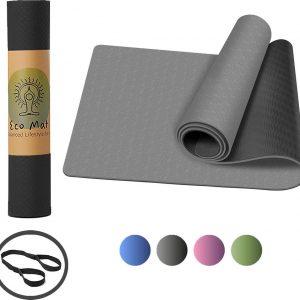 Eco Yoga Mat - Inclusief Draagriem - Fitness MatAnti Slip - Extra Dik (6 mm) - 183 x 61 x 0,6 cm - Zwart - Diverse kleuren