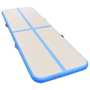 Gymnastiekmat met pomp opblaasbaar 300x100x10 cm PVC blauw