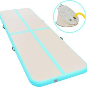 Gymnastiekmat met pomp opblaasbaar 300x100x10 cm PVC groen
