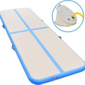 Gymnastiekmat met pomp opblaasbaar 400x100x10 cm PVC blauw