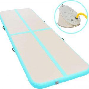 Gymnastiekmat met pomp opblaasbaar 600x100x10 cm PVC groen