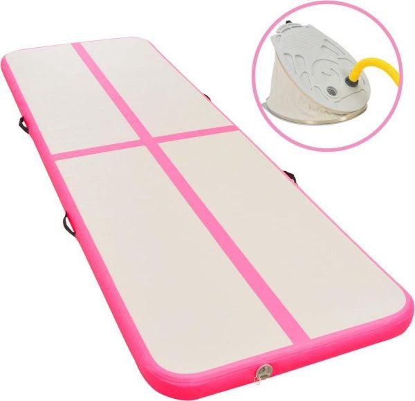 Gymnastiekmat met pomp opblaasbaar 600x100x10 cm PVC roze