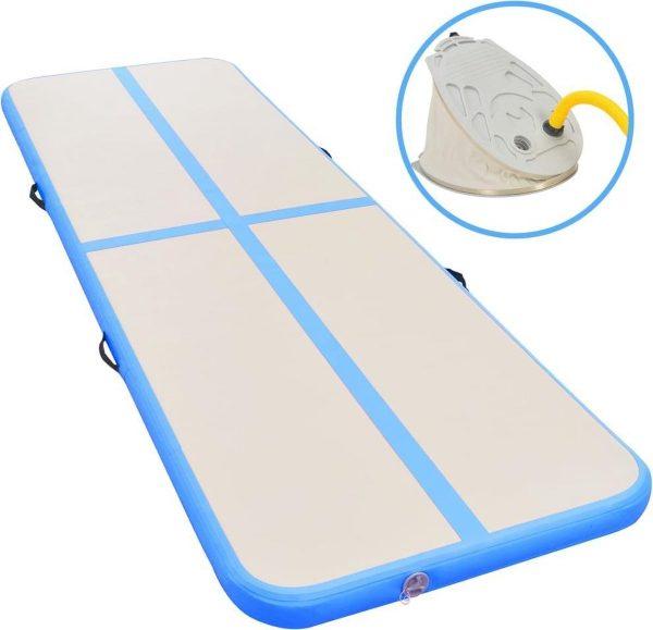 Gymnastiekmat met pomp opblaasbaar 800x100x10 cm PVC blauw