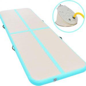 Gymnastiekmat met pomp opblaasbaar 800x100x10 cm PVC groen