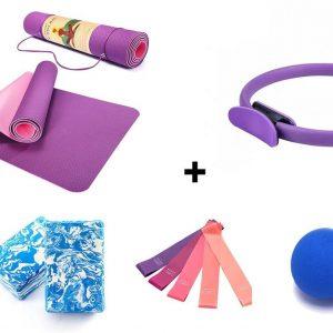 MJ Sport Premium Yoga Set - Yoga Mat + Ring + Blok + Bal + Weerstandsbanden - Pilates - Multifunctioneel - Anti Slip - Oefeningen - Stretchen