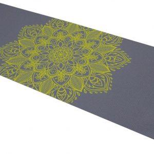Tunturi PVC Yogamat - Fitnessmat 4mm dik - Antraciet met print