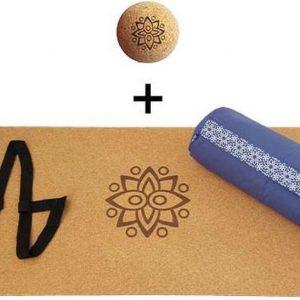 Yin Yoga set - Classic (BLAUW)| Kurk yogamat| Yoga Bolster| Kurk massagebal| Draagiem| Ethisch geproduceerd uit natuurlijke materialen