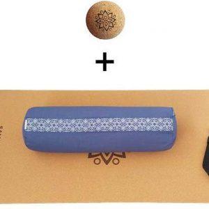 Yin Yoga set - Sun (BLAUW)| Kurk yogamat| Yoga Bolster| Kurk massagebal| Draagiem| Ethisch geproduceerd uit natuurlijke materialen